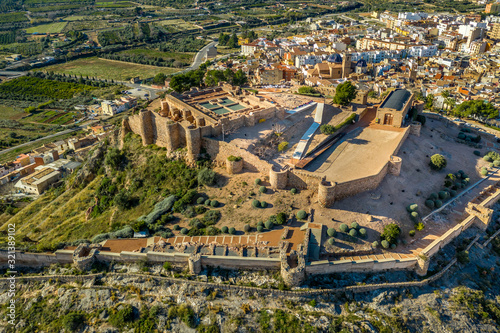 Aerial view of medieval Onda partially restored medieval castle ruin in Spain wi Wallpaper Mural