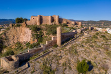 Aerial View Of Medieval Onda Partially Restored Medieval Castle Ruin In Spain With Concentric Walls, Semi Circular Towers, Inner And Outer Bailey
