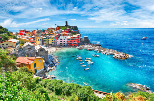 Famous city of Vernazza in Italy during summer - 321390587