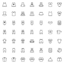 Baby Clothing Line Icons Set. Infant Clothes Linear Style Symbols Collection, Outline Signs Pack. Vector Graphics. Set Includes Icons As Newborn Baby Bodysuit, Romper Jumpsuit, Bib, Dress, Shirts