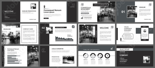 Fototapeta Presentation and slide layout template. Design black and gray geometric background. Use for business annual report, flyer, marketing, leaflet, advertising, brochure, modern style. obraz