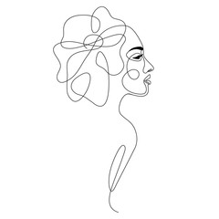 Fototapeta Minimalistyczny One line drawing abstract woman face with flower in her hair. Continuous line art female portrait. Modern minimalism, aesthetic contour. Vector beauty illustration