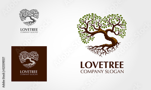 Love Tree Logo Template. This logo stylish trendy sign, tree with leaves forming the shape of the heart. It symbolize love, natural growth and life power.