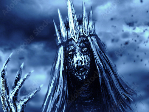 Dark queen with crown pulls bony hand. Blue background color. Wallpaper Mural
