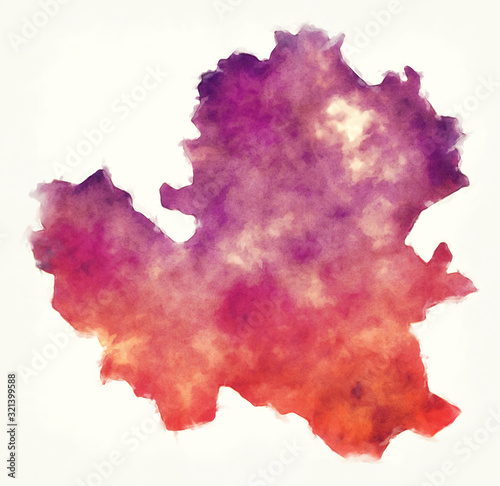 Photo Southeast Slovenia region watercolor map of Slovenia