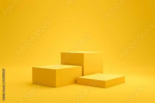 Photo Yellow podium shelf or empty pedestal display on vivid fashion summer background with minimal style