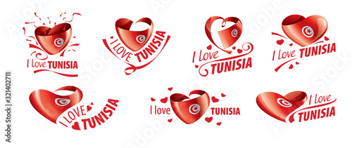 Canvas Print National flag of the Tunisia in the shape of a heart and the inscription I love Tunisia