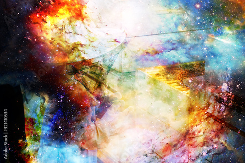 Yung beekeeper wearing protective outfit watching bees at beehive on abstract structured space background Wallpaper Mural