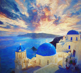 View of stunning colorful morning sunrise, traditional white houses and blue dome churches on small street in the village of Oia in the island of Santorini, Greece.- oil painting.