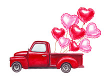 Watercolor Valentines Day Hand Drawn Illustration Of Red Retro Car With Red And Pink Heart Shaped Balloons. Isolated On White