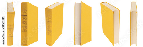 Fotografie, Obraz Yellow book with cloth cover on a white isolated background.