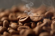 Roasted Coffee Beans Close Up....