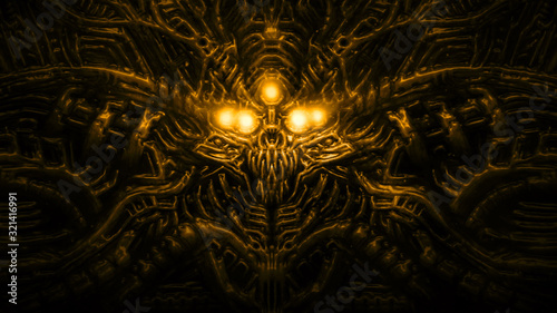 Terrible skull head of cybernetic organism with wires and mechanisms Wallpaper Mural