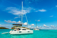 Turquoise Colored Sea With Ancored Catamarans, Tobago Cays, Saint Vincent And The Grenadines, Caribbean Sea