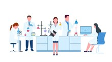 Scientists In Lab. Scientist People Wearing Lab Coats, Science Researches And Chemical Laboratory Experiments. Chemistry Laboratories, Microbiology Research. Vector Illustration In Flat Style.