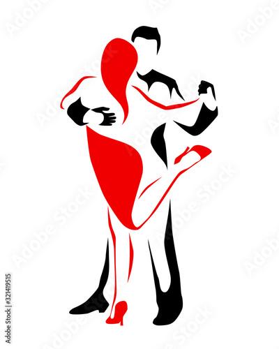 Fototapeta Tango dancing couple man and woman vector illustration, logo, icon for dansing s