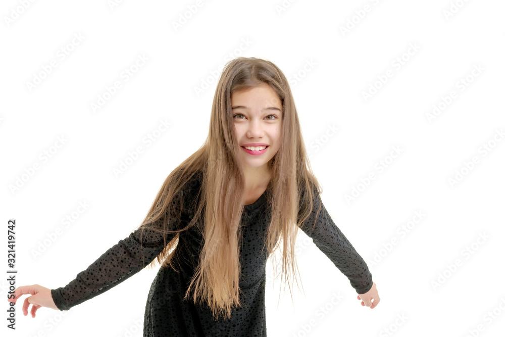 Obraz Little girl in large size shoes. fototapeta, plakat