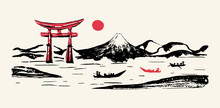 Japan Panorama Vector Ink Brush Calligraphy Background. Japanese Mountain Fuji Mount, Torii Gates And Red Sun Rise Scenery With Fisher Boats On River, Ink Paint Brush Sketch And Hand Drawn Graphic