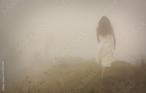 Fototapeta premium Kobieta w długiej białej sukni w mglistej mgle. Rozmyć dostrzegalny zarys sylwetki. Widok od tyłu. Tajemniczy krajobraz