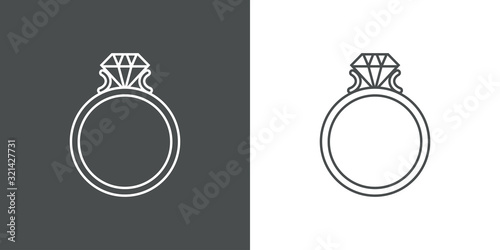 Fényképezés Icono plano lineal anillo de compromiso en fondo gris y fondo blanco