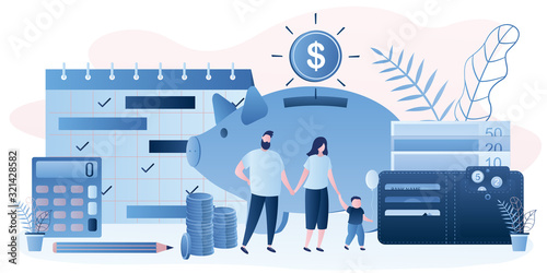 Fototapeta Family budget concept. Parents with kid. Money management. Wallet with banknotes obraz