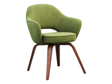 Green Fabric Chair With Wooden...
