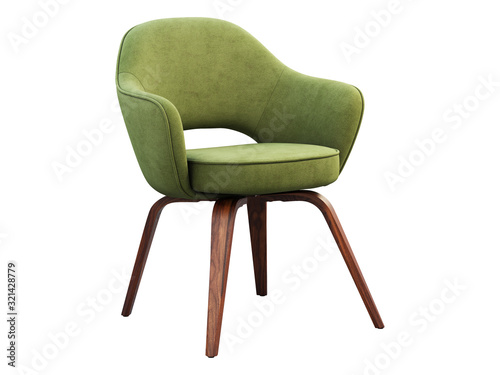 Green fabric chair with wooden legs. 3d render Canvas-taulu
