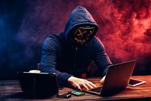 Hacker Man Typing On Laptop, H...