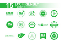 Collection Of Eco Friendly Green Badges. Design Element For Packaging Design And Promotional Material. Vector Illustration.