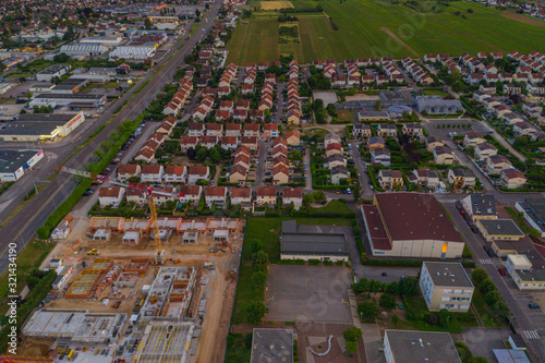 Fototapeta Aerial townscape view of residential houses area in Dijon city obraz na płótnie