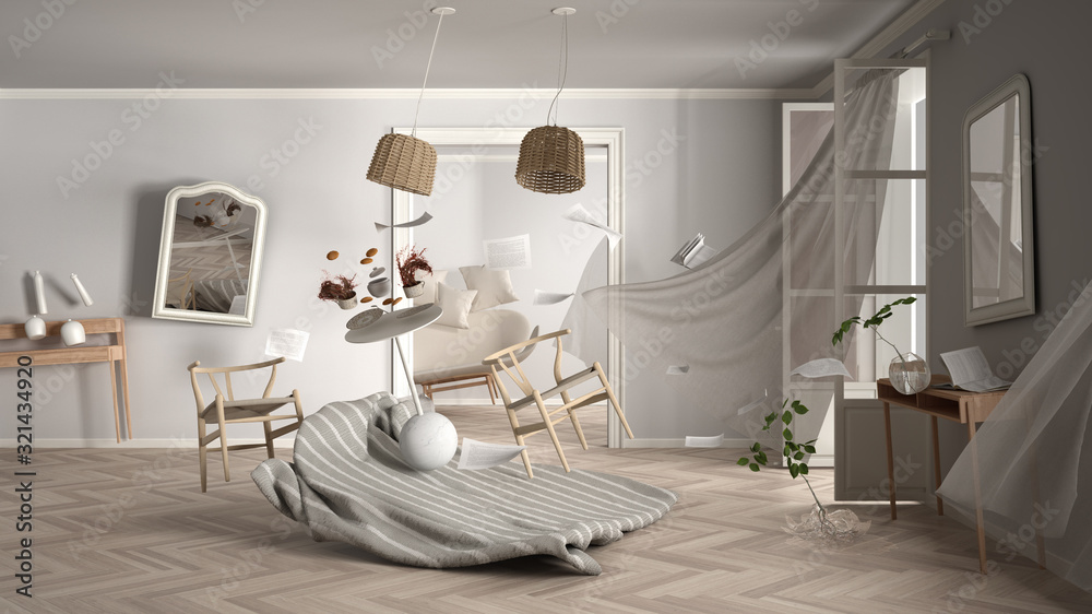 Fototapeta Living room, home chaos concept with chairs and table, carpet, windows and curtains, broken vase, mirrors, furniture and other accessories flying in the air, explosion, gust of wind