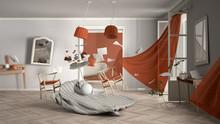 White And Orange Living Room, ...