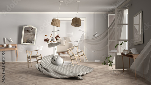 Living room, home chaos concept with chairs and table, carpet, windows and curtains, broken vase, mirrors, furniture and other accessories flying in the air, explosion, gust of wind