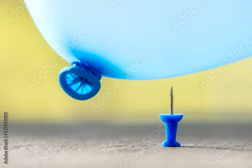 Burst your bubble thumbtack and balloon background Canvas Print