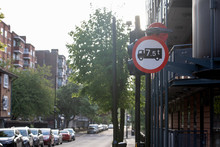 Road Sign Of United Kingdom For No Access To Trucks Over 7.5 Tonnes Weight In Street Of London