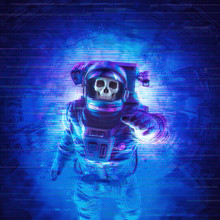 The Final Transmission / 3D Illustration Of Science Fiction Scene With Dead Skull Astronaut Sending Message Through Glitchy Video Feed