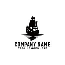 Vintage Ship Logo. Silhouette Of Ship Vector Design. Traditional Sailboat