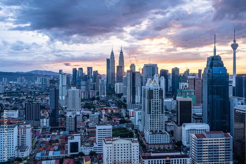 Photo city skyline in kuala lumpur