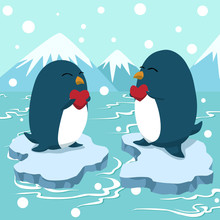Couple Penguin Holding Heart, Greeting Card Vector Illustration, Valentines Day Postcard
