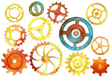 Big Set With Different Watercolor Hand Drawn Gears.