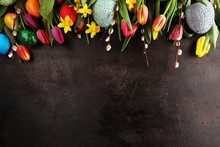 Easter Eggs And Tulips And Daf...