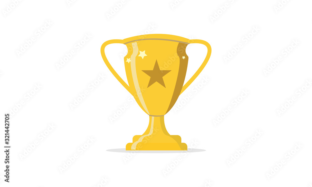 Fototapeta golden trophy cup isolated on white background