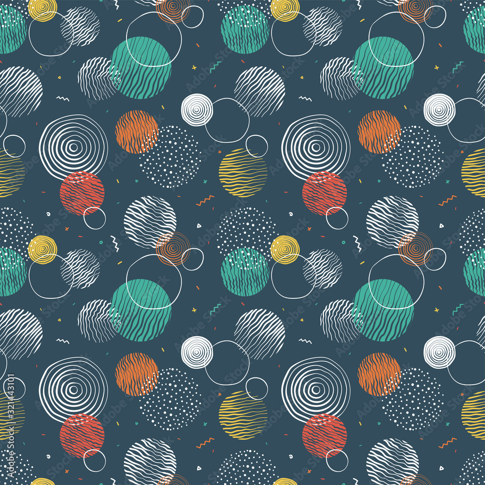Hand drawn doodle circles seamless pattern, abstract repeat background, great for textiles, banners, wallpapers, wrapping - vector design