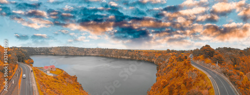Beautiful aerial view of Blue Lake in Mount Gambier, Australia Canvas Print