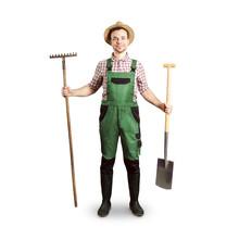 Happy Gardener Holding A Rake ...