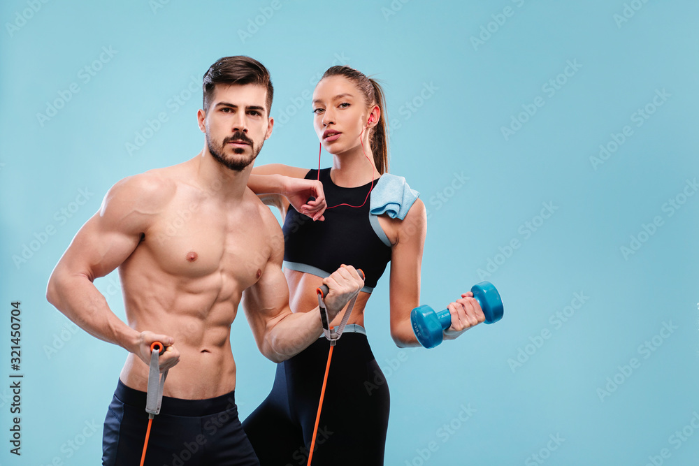 Fototapeta Sport attractive couple - man and woman