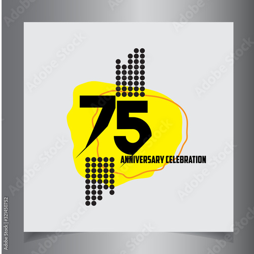 75 Years Anniversary Celebration Vector Template Design Illustration Fotomurales