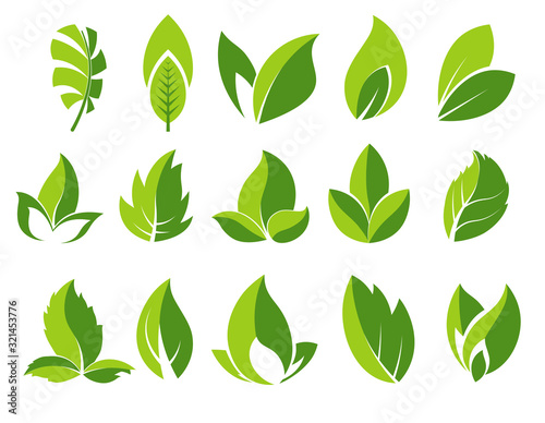 Obraz Green leaf and leaves abstract icons set - fototapety do salonu