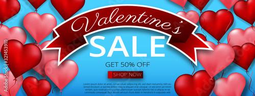 Heart baloon horizontal 8x3 baner red blue white ribbon Canvas Print