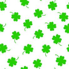 Four Leaf Clover Seamless Pattern Background. Clover Sign Symbol Pattern.